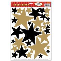 Dekofolien Goldene + schwarze Sterne, 36er Pack