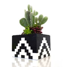 Pyramid Lego Planter, made from legos, sealant and succulents- 6-6