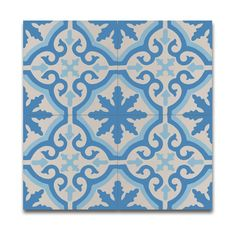 Made of cement and granite, the white and blue pattern of these Argana tiles will add vibrancy and liveliness to your home.
