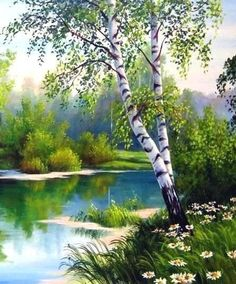 bob ross paintings landscapes Birke / B - landscape Easy Landscape Paintings, Landscape Quilts, Nature Paintings, Watercolor Landscape, Beautiful Paintings, Landscape Art, Beautiful Landscapes, Watercolor Art, Pictures To Paint