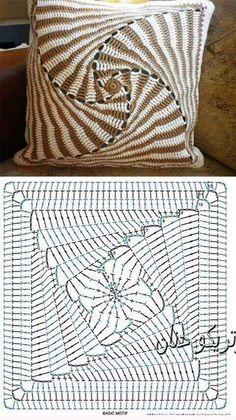 Best 12 Pattern Square Triangle Granny Square Pattern – Knitting and Crochet – SkillOfKing. Crochet Bedspread Pattern, Crochet Square Patterns, Crochet Motifs, Crochet Diagram, Crochet Stitches Patterns, Crochet Chart, Crochet Squares, Crochet Granny, Knitting Patterns