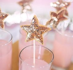 Sequined Star Swizzle Sticks.
