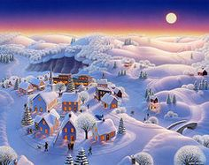Holiday Art - Snow Covered Village  by Robin Moline
