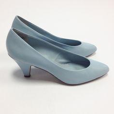 Vintage Light Blue Aqua Leather Solid Classic Pumps Heels Size 7.5. $8.00, via Etsy.  Something Blue??