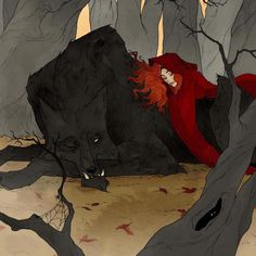 Little Red Riding Hood by Abigail Larson Character Inspiration, Character Art, Character Design, Dark Fantasy Art, Dark Art, Abigail Larson, Werewolf Art, Wolf Love, Big Bad Wolf