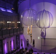 Aerial Bubble aerial act and acrobats