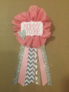 pink and silver baby shower pin mommy to be pin flower ribbon pin corsage glitter rhinestone silver glitter chevron mama mom mommy