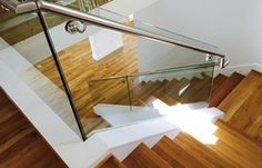 Stainless steel handrail and glass railing Stainless Steel Handrail, Glass Railing, Railings, Entryway, Stairs, Lighting, Modern, Home Decor, Lights