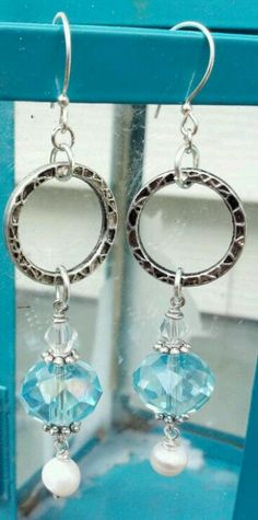 Blue faceted glass, pearls, Swarovski crystals, silver hoops earrings