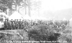 Soldiers at spruce camp near Newport, Oregon, 1918 Leather Rifle Sling, Newport Oregon, Historical Pictures, Oregon Coast, Pacific Northwest, North West, Digital Image, Evergreen, Soldiers