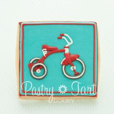 Retro Tricycle Baby Shower Cookie Favors - 1 doz - birthday cookies