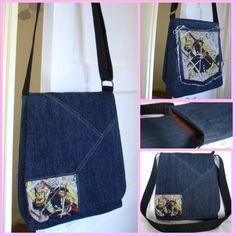 Samurai Denim Jeans Messenger Bag - Upcycled, Recycled Cross body Oblong / A4 Messenger / Shoulder Bag / book bag / ipad bag - £25.00
