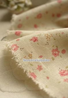 Pink Flower Cotton Linen by seasonalsupplies on Etsy