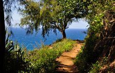 Kauai, Hawaii. Eleven miles on the Kalalau Trail... white sand beaches, sea cliffs, waterfalls, guava trees and ancient ruins