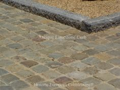 Cobblestone Gallery - Antique Reclaimed Old Granite Cobblestone, Antique Curb, Stone Driveway Pavers Driveway Landscaping, Driveway Pavers, Curb Stone, Belgian Block, Cobblestone Driveway, Paving Pattern, Paving Stones, Exterior Remodel, Driveways