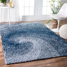 nuLOOM Handmade Contemporary Abstract Swirl Blue Rug (5' x 8') (Blue), Size 5' x 8'