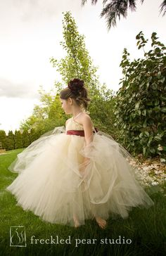 Ivory Tutu Dress with Burgundy Sash - NB thru 18-24m