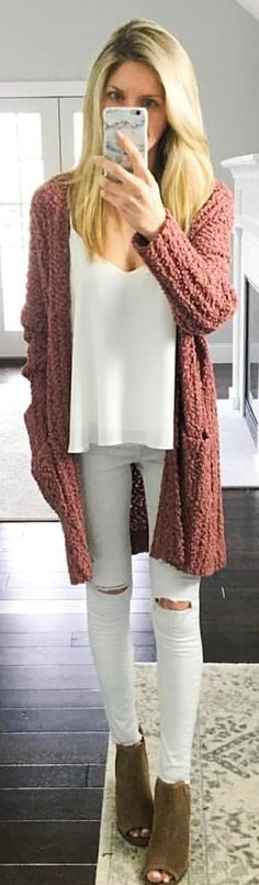 #spring #outfits woman in white top and brown knitted cardigan. Pic by @kristenmlawler