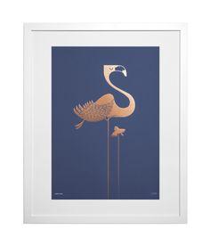 Foil Flamingo on Blue - East End Prints Ltd Art Prints Uk, Animal Art Prints, Animal Posters, Framed Art Prints, Blue Prints, Lion Print, Owl Print, Flamingo Print, Art For Sale Online