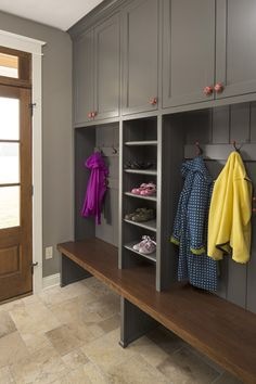 Mudroom. I would have deeper coat cupboards, but I like the colour of these ones.