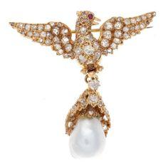 Victorian Pearl Ruby Diamond Gold Bird Brooch