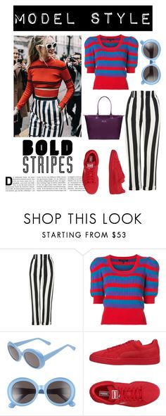 """bold stripes"" by im-karla-with-a-k ❤ liked on Polyvore featuring Topshop, Marc Jacobs, Gentle Monster, Puma and Lipault"