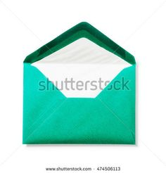 Green envelope isolated on white background. Single object with clipping path. Top view, flat lay