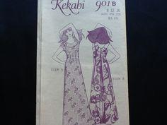 """Pauloa pattern 901 B. Vintage uncut misses' """"Kekahi"""" semi-fitted muumuu with inside back waist tie. Angel back, tulip sleeve or sleeveless. by Stitchandzip on Etsy"""