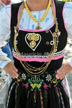 Gold necklace and traditional costume of Minho. Our Lady of Agony Festivities, the biggest traditional festival in Portugal. Viana do Castelo.
