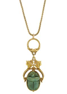 Egyptian Revival Gold and Faience Scarab Pendant with Gold Chain Necklace,  circa 1870.