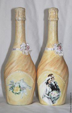 Свадебные аксессуары ручной работы. Ярмарка Мастеров - ручная работа шампанское на свадьбу. Handmade.