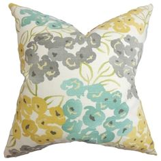 Heloise Floral Gray Feather Filled 18-inch Throw Pillow | Overstock.com Shopping - Great Deals on PILLOW COLLECTION INC Throw Pillows
