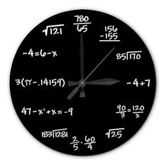 @Brooke Walker Mathematics Chalkboard Clock - High Quality, Acrylic, 10.75 inch diameter BLACK or GREEN - Gift for Teacher, Professor, Student, Engineer