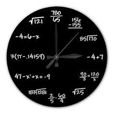 Mathematics Chalkboard Clock - High Quality, Acrylic, 10.75 inch diameter BLACK or GREEN - Gift for Teacher, Professor, Student, Engineer