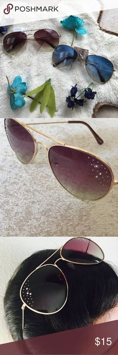 """Rhinestone Accented Sunglasses Colors available are blue (1 left) and maroon (3 left). Size; 6"""" L, 6"""" W, 2.25"""" H -- Has rhinestones accenting the side of the lenses with gold frames and arms Accessories Sunglasses"""