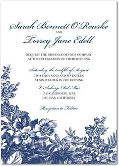 Toile - Signature White Textured Wedding Invitations - Pottery Barn - Gibraltar - Blue : Front