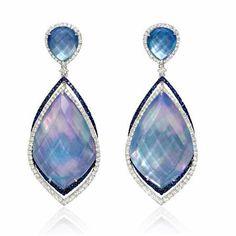 Diamond, Sapphire, White Topaz, Lapis Lazuli and Mother of Pearl 18k White Gold Dangle Earrings