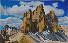 "#finearts, ""three peaks"", 09. 2004, #pixelism - ca. 160.000 painted pixels, acrylic on canvas, 200 x 130 cm, ■ = 4 x 4 mm, (78.74"" x 51.18"", ■ = 0.16"" x 0.16"")."