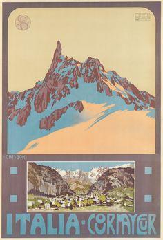 Italia - Courmayeur - 1906 - Glauco Cambon- vintage travel poster