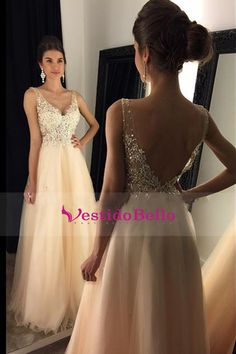 LOVE Prom Dresses 2017 Prom Dresses, V-Neck Prom Dress With Appliques, Beaded Long A-line Tulle Prom Dress, Long Evening Dresses, Prom Dresses Blush Pink Prom Dresses, Best Prom Dresses, Backless Prom Dresses, Tulle Prom Dress, Prom Party Dresses, Evening Dresses, Prom Gowns, Gown Dress, Wedding Dresses