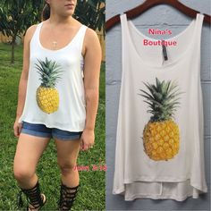 sale🎉🎉Tank Tops Pineapple tank tops in ivory. Price is firm. 95% rayon 5% spandex Tops Tank Tops