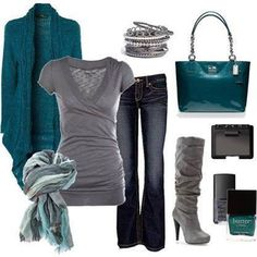 Jeans with grey tee with turquoise accessories