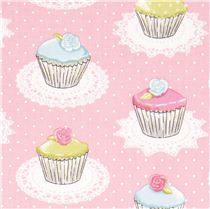 pink Michael Miller fabric with cupcakes dots