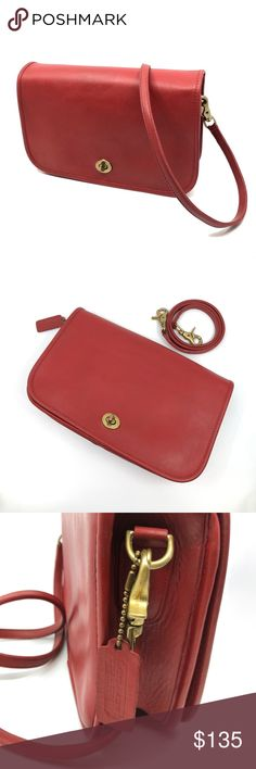 "RARE Vintage COACH Convertible Clutch Shoulder Bag Vintage Coach RED Convertible Clutch Bag 9635 in remarkably good vtg condition. Creed # 266-5407  Known as ""New York City"" bags, these were made in the original Coach factory in NYC.  That factory operated from the late 1960s through the mid 1980's. (Now Coach bags are mostly made in China.)  Thick, original glovetanned leather that doesn't need lining. 11""L x 7""H x 2.5""D, strap drop 16.5"" (removable)  Rare to find one in this condition…"