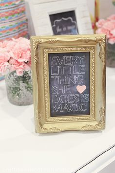 Simple Chalkboard Baby Girl Shower