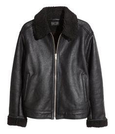 Pile-lined Leather Jacket | Black | Men | H&M US