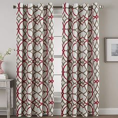 VERSAILTEX Blackout Curtain Panels 84 for Living Room/Bedroom - Functional Geo Trellis Window Treatment Thermal Insulated Grommet Curtains Draperies, Noise Reducing Drapes Panels, Taupe & Red) High Ceiling Living Room, Living Room Red, Living Room Windows, Living Room Bedroom, Red Curtains Living Room, Bedroom Drapes, Kitchen Curtains, Curtains And Draperies, Grommet Curtains