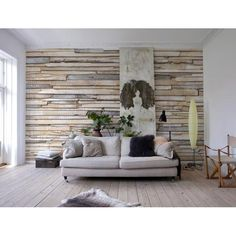 look- it is a fake wood wall! 8-920 Whitewashed Wood Wall Mural - Komar Photomurals