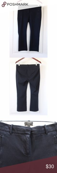 """J.CREW Petite Teddie Pants Size 4P Women's Blue J.CREW Petite Teddie Pants Size 4P Women's Navy Blue Fitted Cropped Trousers Style E8380 Great Condition! No snags, tears, or stains noted. Pics show accuracy of condition! From a pet & smoke free home  Measurements (approx):  inseam 22"""" waist 30"""" hips 33"""" J. Crew Pants Ankle & Cropped"""