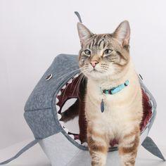 Great White Shark Cat Ball Kitty Bed